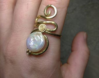 Freshwater Pearl & Brass Ring Size 9