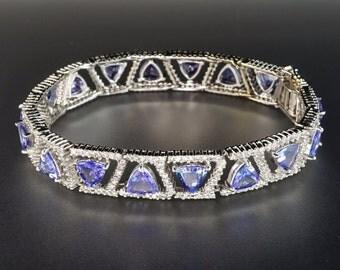 14K White Gold Diamond Halo Trillion-Cut Large Lilac Tanzanite Bracelet