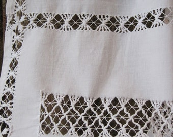 Pretty White Antique Lace Hand-Made Curtain Window Net Cottage Downton Abbey FREE POST UK