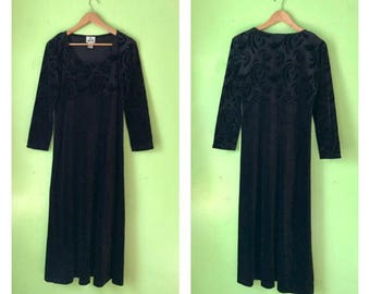 Vintage Black Velvet MAXI dress 1990s burnout grunge boho GYPSY clothing long sleeved crushed velvet dress womens MEDIUM