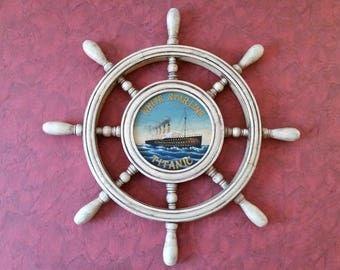Stunning Vintage White Star Titanic Ship's Wheel with Original Label - Hand Made UK Sculptures - Pub Decor