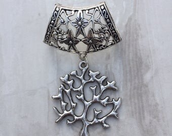 Silver Tree of Life Scarf Bail, silver scarf bail, scarf pendant, scarf ring, scarf slider, scarf jewelry, scarf jewellery, scarf charm