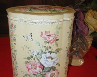 Vintage Floral and Lace English Tin