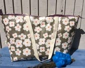 Overnight bag extra large holiday bag grey floral oilcloth tote with zip unique handmade gift for new mum great family tote vegan bag