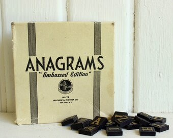 Vintage ANAGRAMS EMBOSSED LETTERS Game Pieces & Original Art Deco Box (Vintage Craft Supplies, Alphabet Pieces)