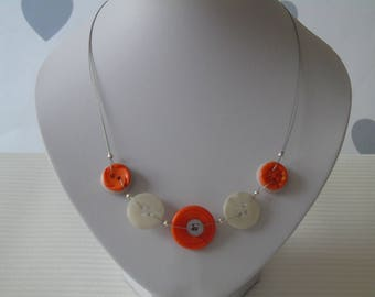 Orange and Grey Button Necklace