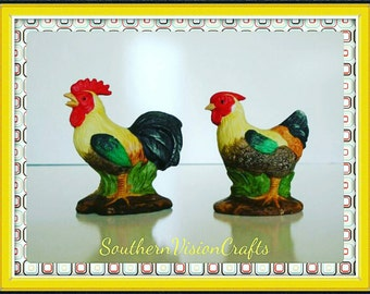 Small Chicken Rooster Figurine Set