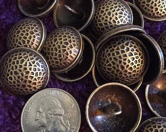 22mm antique gold brass tone metal shank buttons set of 10