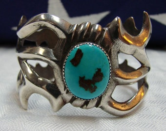 Navajo Cuff Bracelet - Sterling And Turquoise Cuff Bracelet - Old Indian Sandcast Cuff Bracelet