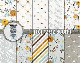 Spring Digital Paper Pack hand drawn birds floral patterns INSTANT DOWNLOAD Gray Neutral Pretty Spring Leaves Robins Papel Cards Background