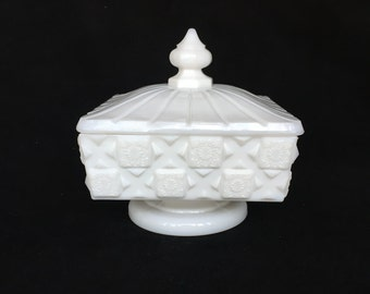 Westmoreland Old Quilt Milk Glass Candy Dish or Nut Dish