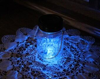 Mason Jar Solar Lid Light - Twinkling Blue - Angel Lights - Firefly Lights - fairy lights, solar fairy lights, mason jar solar light