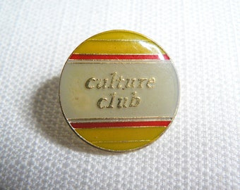 Vintage 80s Culture Club - Red / Yellow / White Enamel Pin / Button / Badge