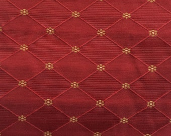 French Country Fabric Red green white floral fabric