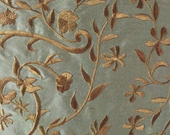 Robins Egg Blue with Gold Embroidered Floral Silk Fabric By The Yard