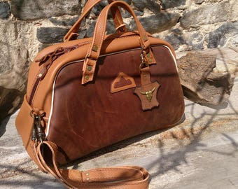 travel man woman, craft bag, medium size, brown leather