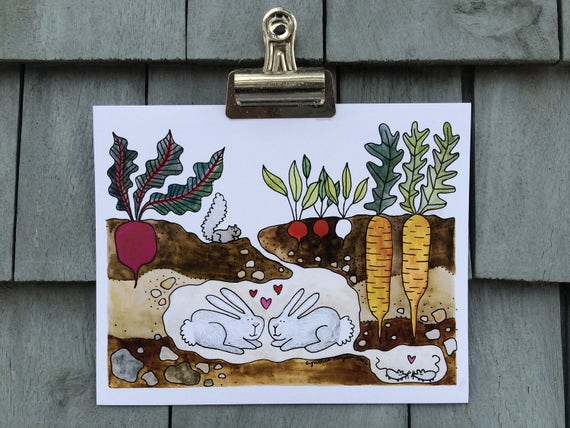 Love Bunnies Print, 8 x 10 inches