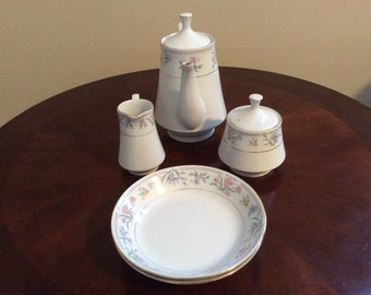Lovely Jardin by Tienshan Fine China Creamer, Sugar, Coffee Pot & Coupe Soup Bowls.