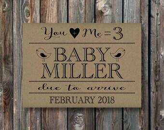 PRINTABLE Pregnancy Announcement Card Sign–Rustic Kraft Pregnancy Announcement Sign–Pregnancy Reveal Card-First Baby Announcement Card-PA10