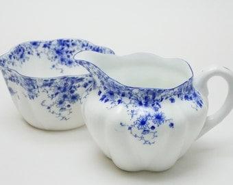 "Shelley ""Dainty Blue"" Blue Flower Creamer/Milk Jug and Sugar Bowl Vintage Fine Bone China Made in England"