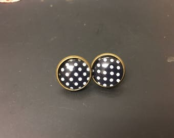 Black polka dot spot dotty shabby chic stud earrings