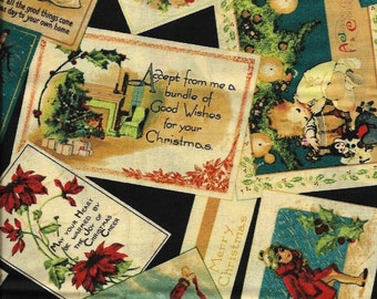New Christmas Cards and Wishes on Black 100% cotton fabric by the Fat Quarter