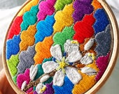 Embroidered Hoop Art. Floral Embroidery. Moroccan Tile Thread Art. Original Embroidery Design. Jewel Colours. Fibre Art. Thread Painting.