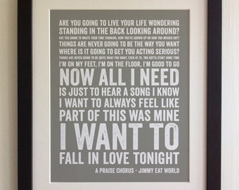 FRAMED Lyrics Print - Jimmy Eat World, A Praise Chorus - 20 Colours options, Black/White Frame, Wedding, Anniversary, Valentines, Picture