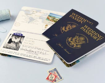 Realistic and authentic looking USA Passport Invitation - Perfect for your destination wedding or travel themed event