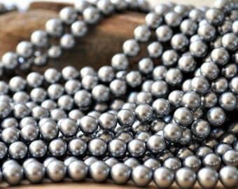 """Silver Grey Majorica Pearl 12 MM 16"""" Strand *ClOSE OUT*"""