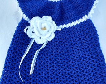 Royal Blue and White Baby Dress and Headband, 9-12 month baby dress, blue baby dress and headband, royal blue dress