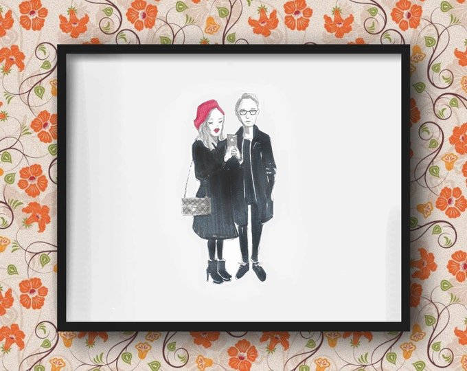 Couple custom illustration - WEDDING, ANNIVERSARY, ENGAGEMENT