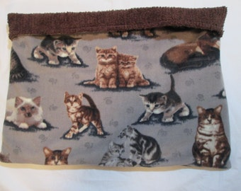 "Cat burrow bed, cat snuggle bed snuggle pouch, reversible, 18.5"" x 24.5"", medium,created in Duluth, Minnesota"