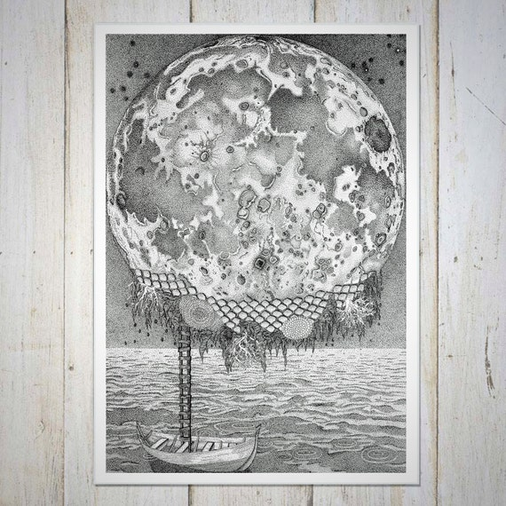 Moon Wall Decor, Moon Art Prints, Birthday Gift, Moon Print, Italo Calvino Art Prints, Moon Art, Moon Wall Art, Star Wall Decor, Milky Way