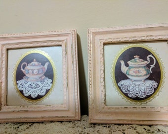 Shabby chic pictures of cups and tea pots. Free shipping!    Item # 1112164