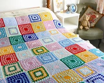 Vintage large crochet granny square blanket throw