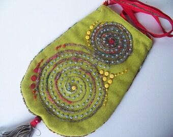 SPIRAL .... beautiful bohemian embroidered shoulder bag in olive color.