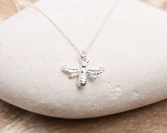 Sterling Silver Bee Necklace/Bee Necklace/Tiny Bee Necklace/Bumble bee Necklace