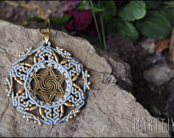 Star of life. SACRED GEOMETRY. Macrame necklace. MANDALA macrame with brass beads. Tribal jewelry. Boho. Ethnic. Gypsy. Yoga pendant