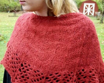 Warm and fuzzy alpaca blend hand knit shawl. Soft and squishy winter wrap, red