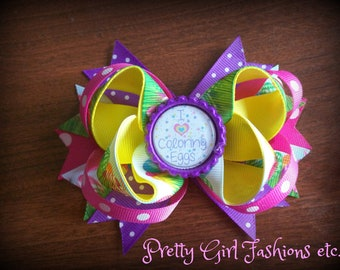 "5"" Easter Egg boutique stacked hair bow on a single prong alligator clip or spring barrette"