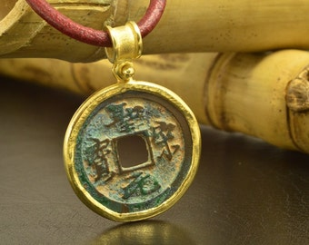 Gold Pendant with Ancient Chinese Coin (12th century)