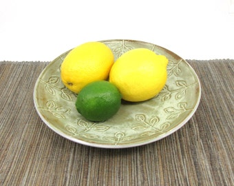 Large Wide Bowl, Hand Made Ceramic Pottery Fruit Bowl or Serving Bowl in Rustic Green Glaze with Leaf Design, Green and White, Ready to Ship