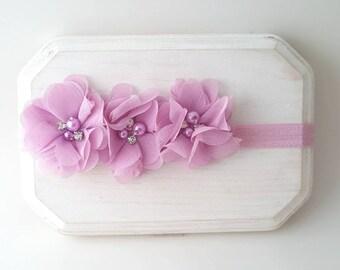 Tulip Pink Chiffon Flower Headband - Tulip Pink Flower Girl Headband - Newborn Photo Prop - Spring Baby Bow - Easter Headband - Fancy Bow