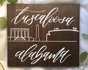 Tuscaloosa, Alabama wooden cityscape sign