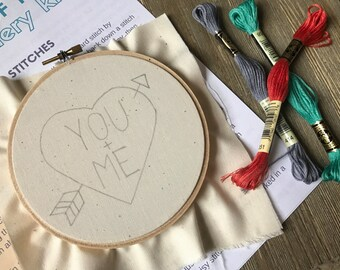 Embroidery Kit - Valentine's Day You and Me Heart with Arrow in 5 Inch Hoop - Beginners Level Kit and Pattern