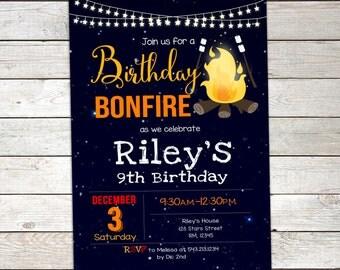 Bonfire Birthday Invitation, Camp Birthday Invitation, Smores Invitation, Bonfire Party Printable Personalized, Photo Invitation