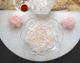 4 oz Rose Quartz Mini Chips, Tumbled Rose Quartz Chips, Undrilled Chips, Tumbled Stones for Grids, Chips for Crafts & Jewelry, Reiki Healing