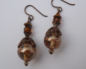 Bronze earrings, Indian and Czech glass earrings, filigree earrings, beige earrings, bronze jewellery, autumn jewellery, Indian glass