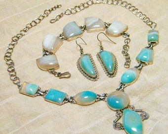 Drasticly Reduced Unbelieveable Price Vintage Sterling Silver Botswana Agate Necklace Bracelet and Earring Set